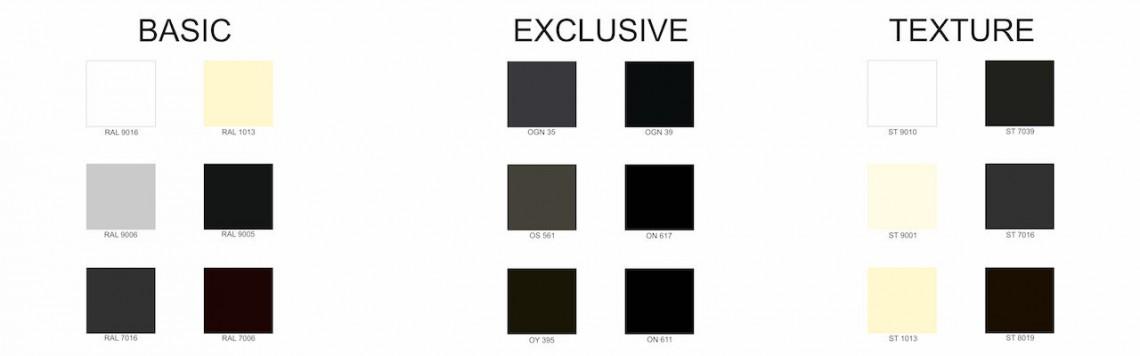 Vzorník barev hliníkových posuvných pergol NOVO