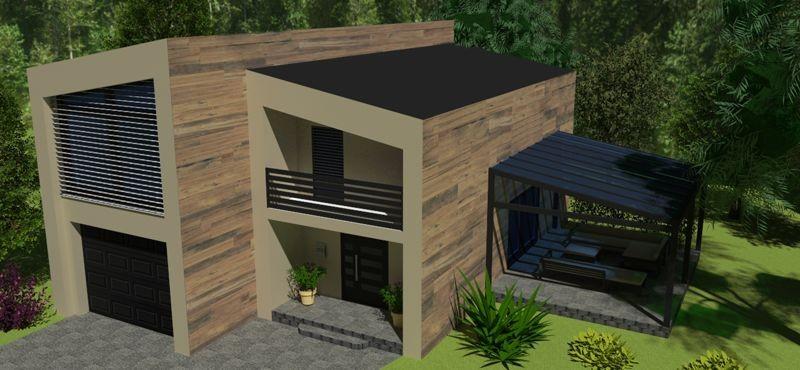Celková vizualizácia - pohľad na dom s pergolou
